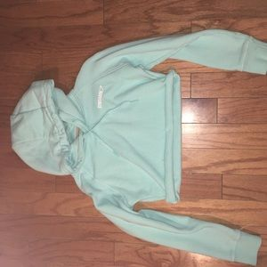 Gymshark pale turquoise cropped crest hoodie small